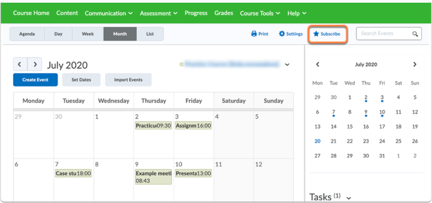 Calendar page - Lecturer view - Subscribe option