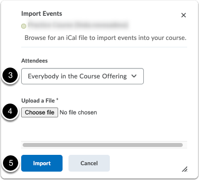 Import events - pop-up window - choose attendees and file to import