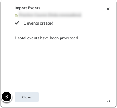 Import events - pop-up window - confirmation of import