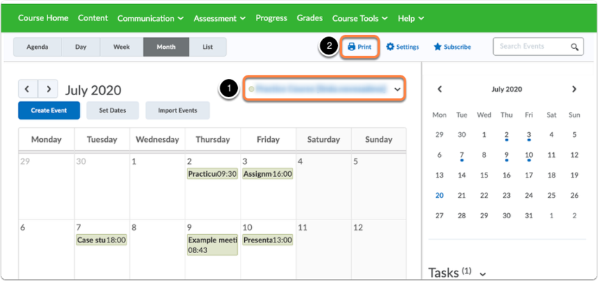 Calendar page - Lecturer view - settings option