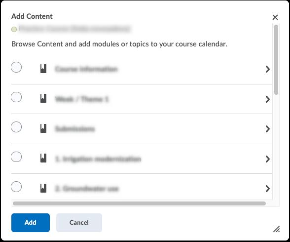 Create Event - Add Content button