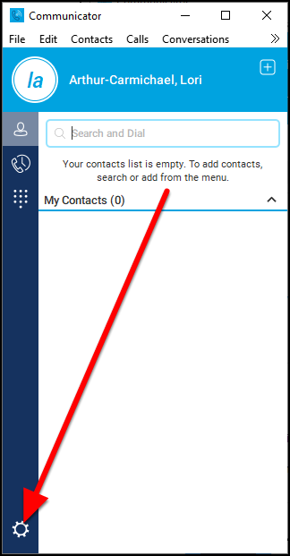 Communicator contacts screen