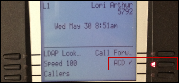 Desk phone ACD key with check