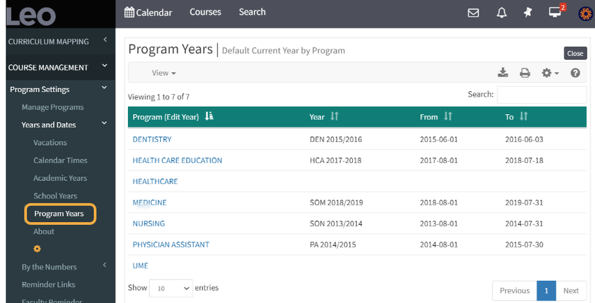 Step 3: Defining Program Year
