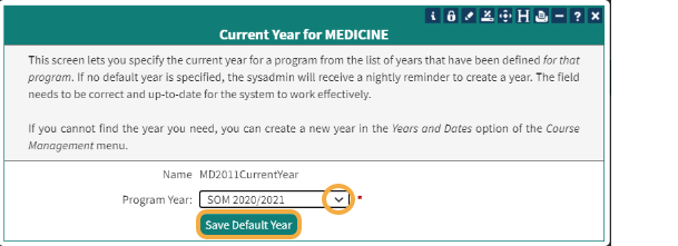 Current Year for Program
