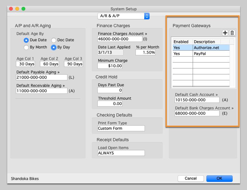 System Setup window (Credit Card Gateway)