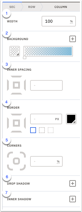 Edit section and style settings