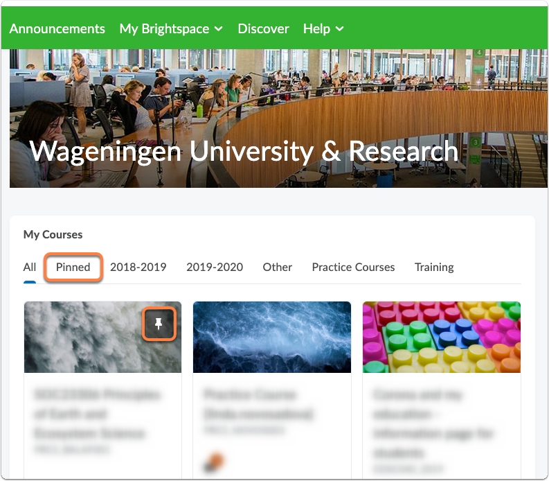 Brightspace WUR homepage - tab with Pinned courses