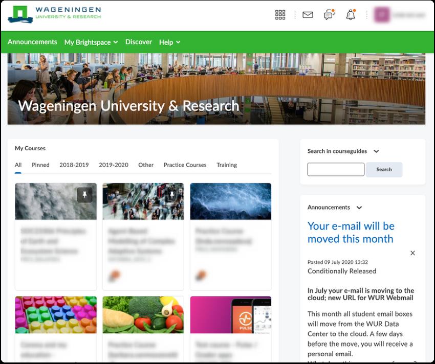 Brightspace WUR homepage