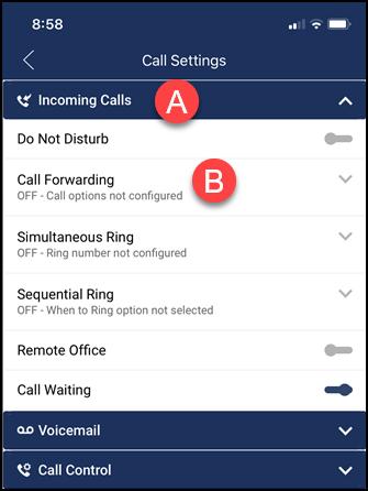call settings menu