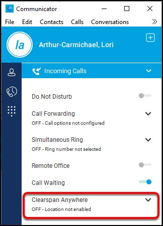 Incoming Calls menu