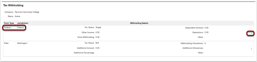 Tax withholding page
