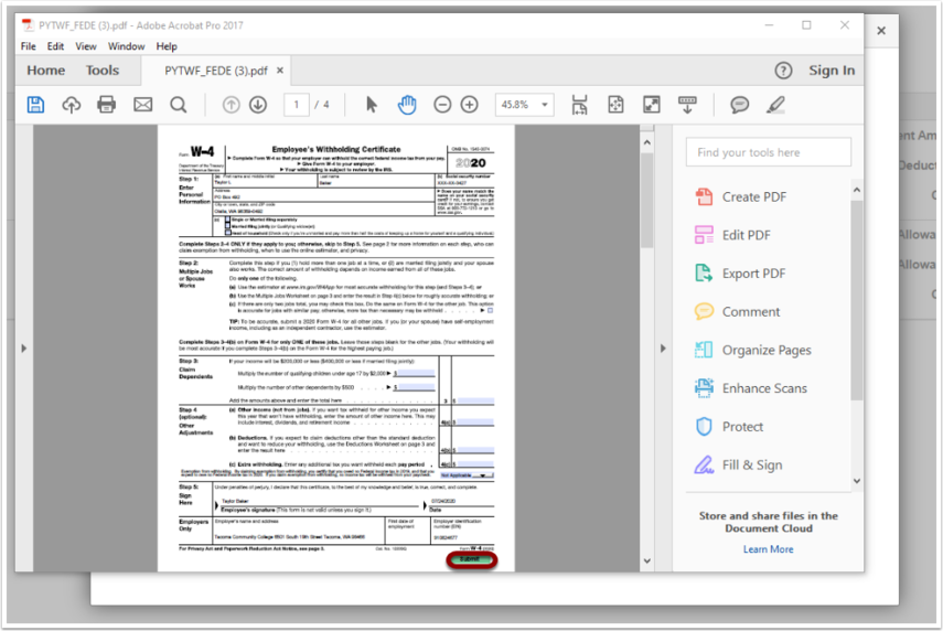 Example of W-4 PDF file