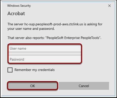 Acrobat, PDF Log on, credentials