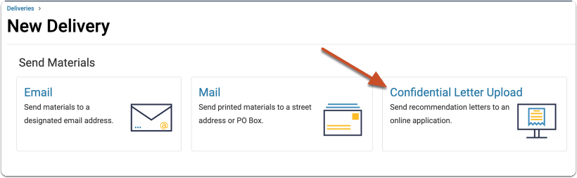 Select the Confidential Letter Upload delivery method