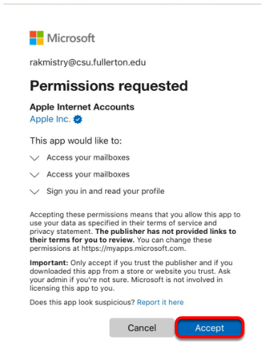 Permissions requested screen