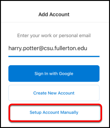 Setup account manually