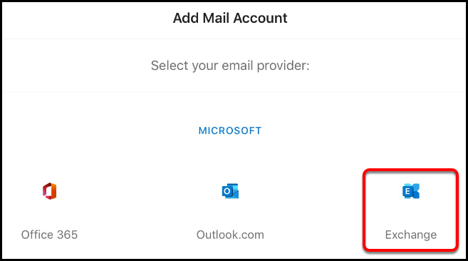 Select Exchange email provider