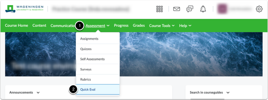 Brightspace  Course homepage - click Assessment, then Quick Eval