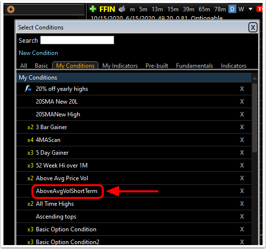 2. In the Add Column window, select the column you would like added to your watchlist.
