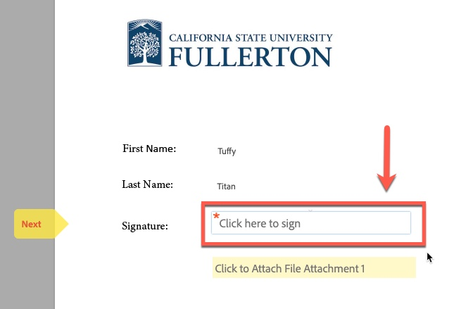 Arrow pointing to Signature field