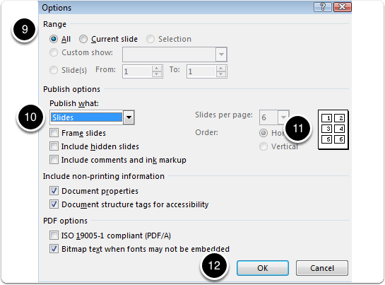 Exporting a presentation as .pdf - steps 9, 10, 11, 12
