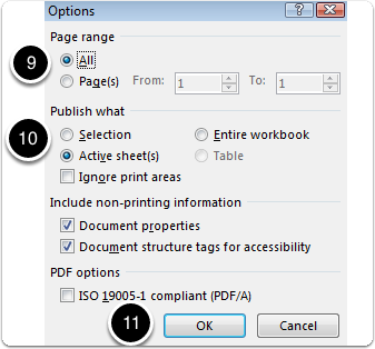 Exporting MS Excel to pdf - steps 1, 10, 11