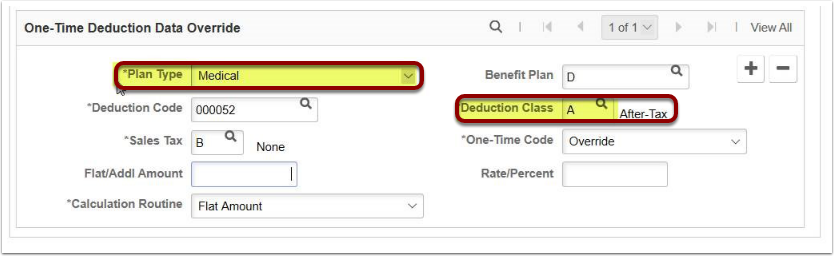 One time deduction data override page