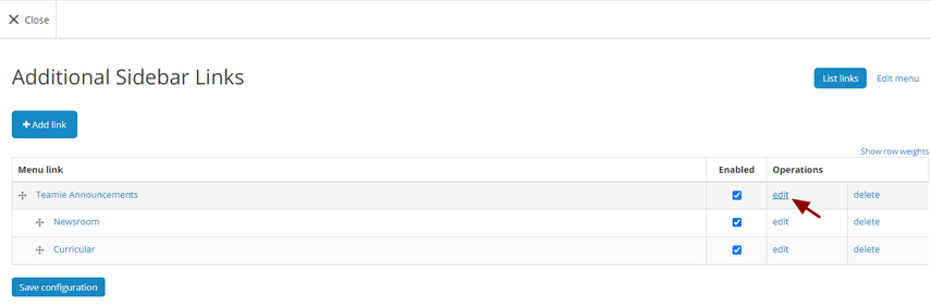 a. Editing a sidebar menu link