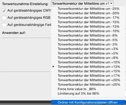 Eine neue Korrektur erstellen: Tonwertänderung einrichten –Ordner mit Tonwertkorrektur-Konfigurationen öffnen