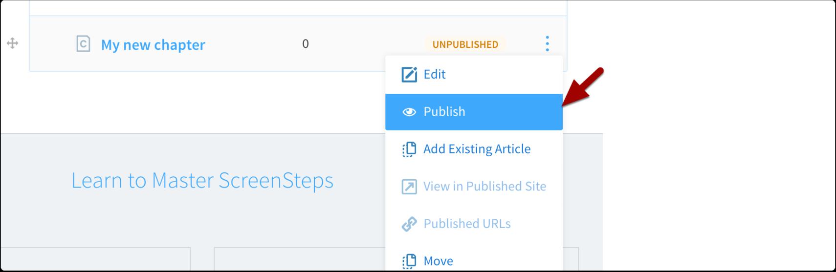 publish chapter