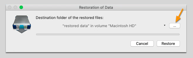 Select the Destination of the Restored Data File