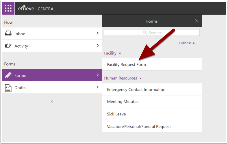 Facility Request page detail