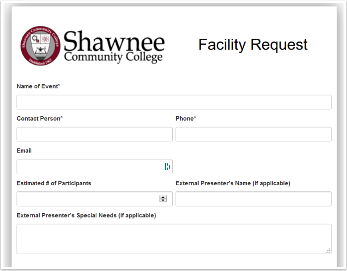 First section of request form