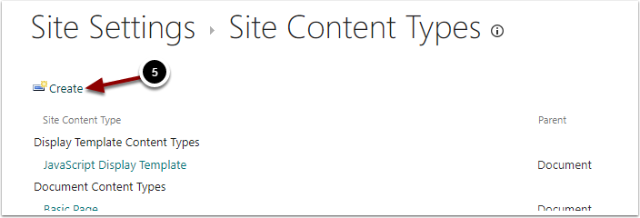 Site Content Types - Google Chrome