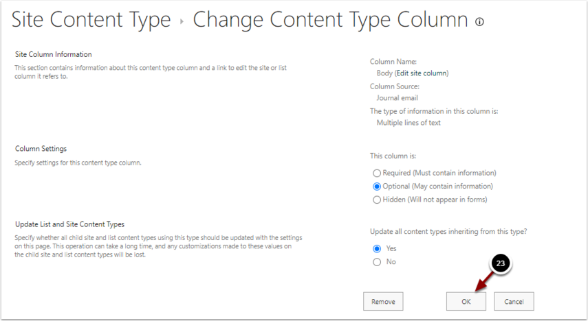 Change Content Type Column - Google Chrome