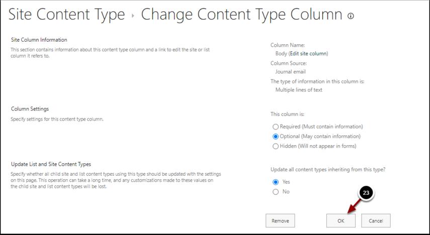 Change Content Type Column - Google Chrome