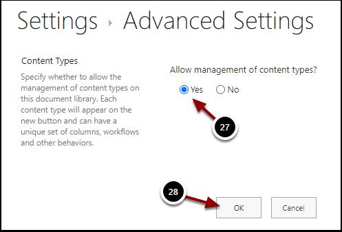 Document Library Advanced Settings - Google Chrome