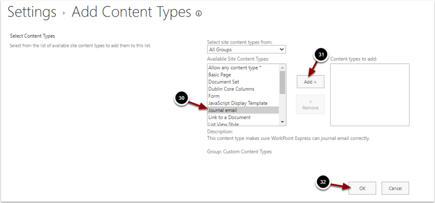 Add Content Types - Google Chrome