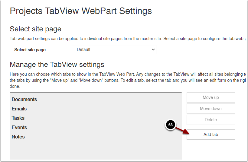 Projects TabView WebPart Settings - Google Chrome
