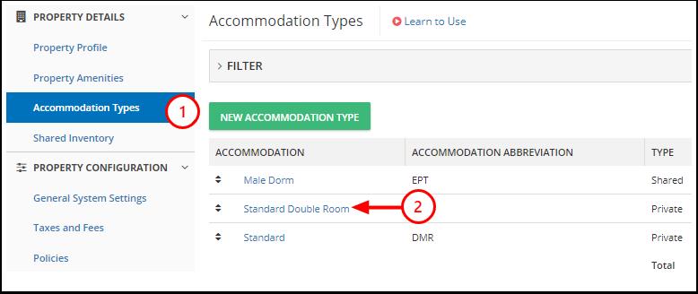DEMO - Karina's Hostel - Manage - Accommodation Types - Google Chrome