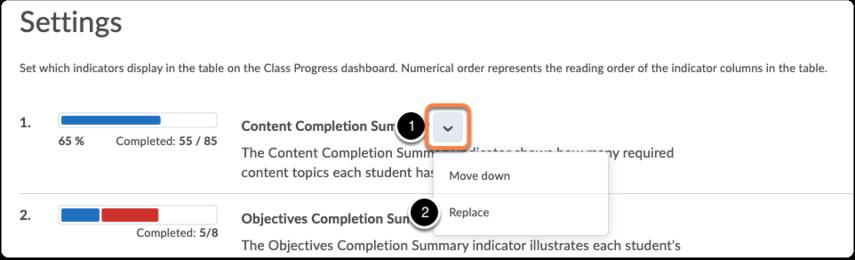 Progress tool - Settings - remove indicator