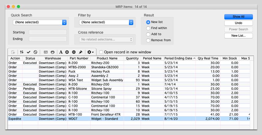 MRP items list view