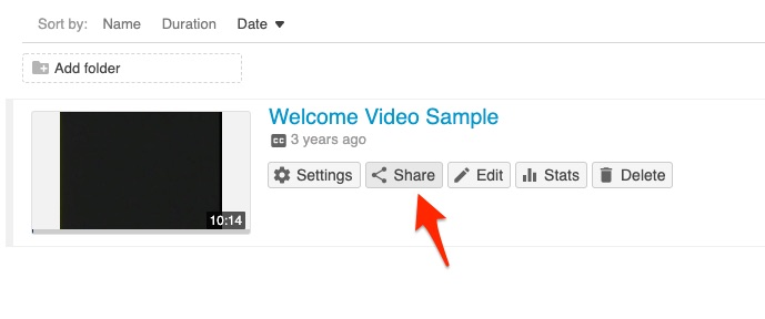 Share button on welcome video