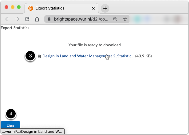 Export statistics - download link with statistics file by content