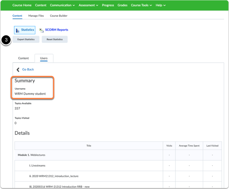 Course content Statistics - tab Users - click on Export Statistics