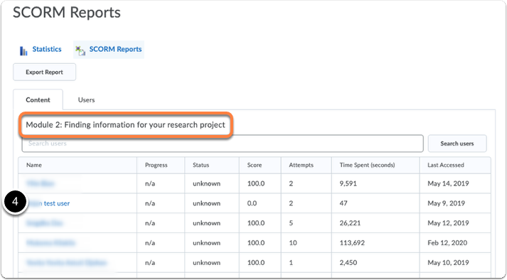 Course Content statistics - SCORM Report - Content tab - specific item overview