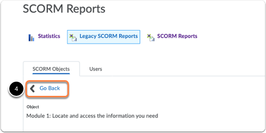 Course conten statistics - SCORM report - click Go Back to return to the general overview by SCORM Objects
