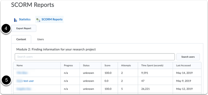 Course Content statistics - SCORM reports - click on student name for report on student progress