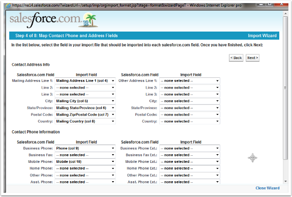 Step 4 of 8: Map Contact Phone and Address Fields